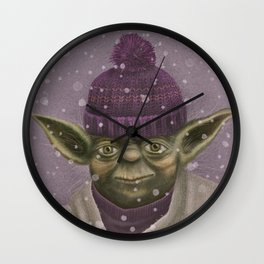 Christmas Yoda (fiolet) Wall Clock