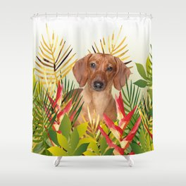 Little Dog with with Palm leaves Shower Curtain
