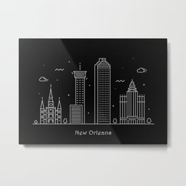 New Orleans Minimal Nightscape / Skyline Drawing Metal Print