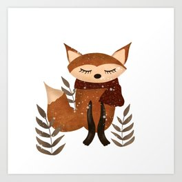 Cute Winter Fox with Scarf in Snow Art Print