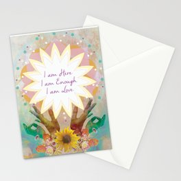 Affirmations: I am Here, I am Enough, I am Love Stationery Cards