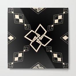 Black and White Tile Metal Print