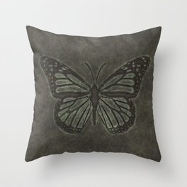 Bronze Monarch Butterfly Throw Pillow