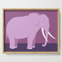 Elephant with tusks standing pink Serving Tray