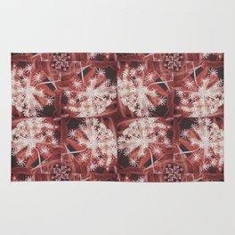Red Dill Flower Design Rug