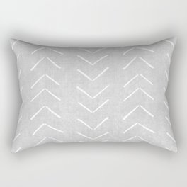 Mudcloth Big Arrows in Grey Rectangular Pillow