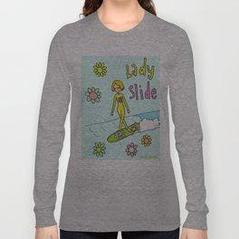 Surf Art Lady Slide Cross Step Flower Power Long Sleeve T-shirt