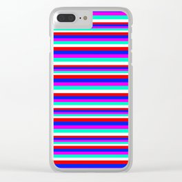 Colored Stripes - Fire Red Royal Blue Pink Mint White Clear iPhone Case