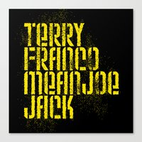 steelers Canvas Prints featuring Terry Franco Mean Joe Jack / Black by Brian Walker