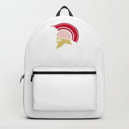 Roman Galea or Helmet in Japanese Peach, Yellow, and Red Backpack