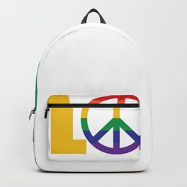 Pride Love is Love Rainbow Peace Sign LGBT Backpack