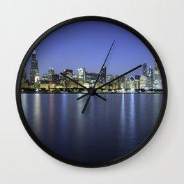 Chicago Skyline Dusk Panorama Wall Clock
