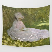 monet Wall Tapestries featuring Springtime by Claude Monet by Palazzo Art Gallery