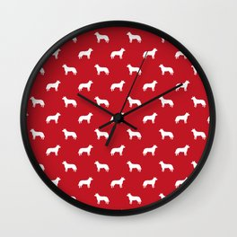 Australian Cattle Dog silhouette pattern portrait dog pattern red and white Wall Clock