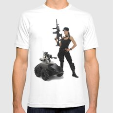 Swat Chick- Girl with SWAT Gear, Military Gun and Tactical Robot MEDIUM Mens Fitted Tee White