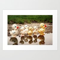 ducks Art Prints featuring Ducks by Teodoru Badiu