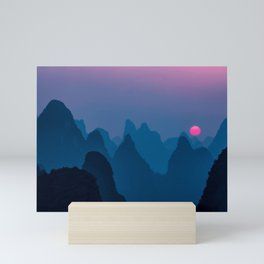 Sunset Over The Mountains Mini Art Print