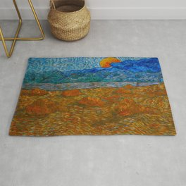 Landscape with wheat sheaves and rising moon Oil on canvas Painting by Vincent van Gogh Rug