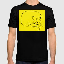"""Relaxing Cat on Yellow """"Paper Drawings/Painting T-shirt"""