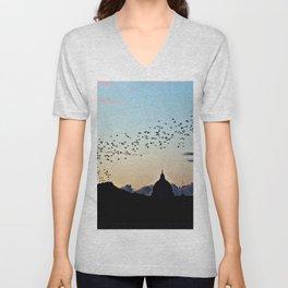 Murmuration Starlings Flock Birds Sunset Rome Italy Unisex V-Neck