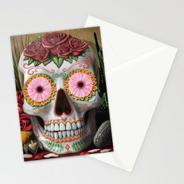 Flora - Sugar Skull with Cactus, Red Roses, Avocado and Papaya Stationery Cards