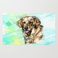 golden retriever Area & Throw Rugs featuring Golden Retriever Painterly Watercolor Portrait by naturessol
