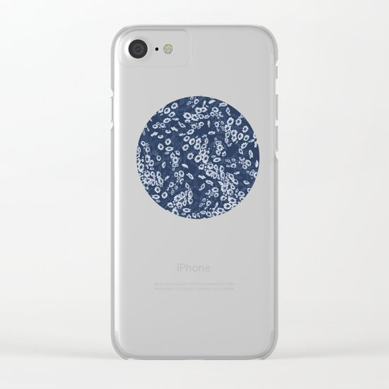 Daisy Dream Navy Clear iPhone Case