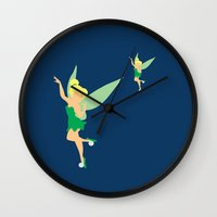 tinker bell Wall Clocks featuring Tinker bell by Dewdroplet