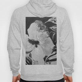 Black and White of Birthday AcrylicHibiscus Flower Painting Hoody