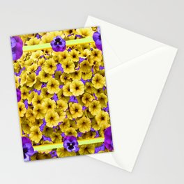 YELLOW PETUNIAS & LILAC PURPLE PANSIES FLORAL Stationery Cards