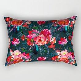 Neon pink fuchsia black watercolor modern floral Rectangular Pillow