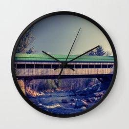 Honeymoon Bridge Jackson New Hampshire Historic Covered Bridge Ellis River New England Wall Clock