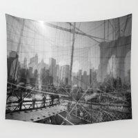 brooklyn bridge Wall Tapestries featuring Brooklyn Bridge 3x by Evan Morris Cohen