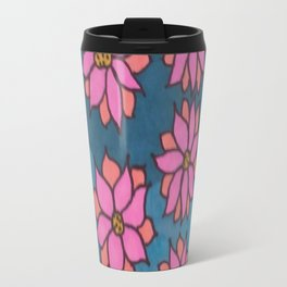 Pink and Blue Dahlia Print Travel Mug