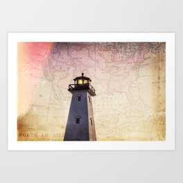 Lighthouse Map Art Print