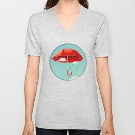 Teal Sky Red Umbrella Unisex V-Neck
