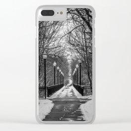 Winter walking bridge Clear iPhone Case