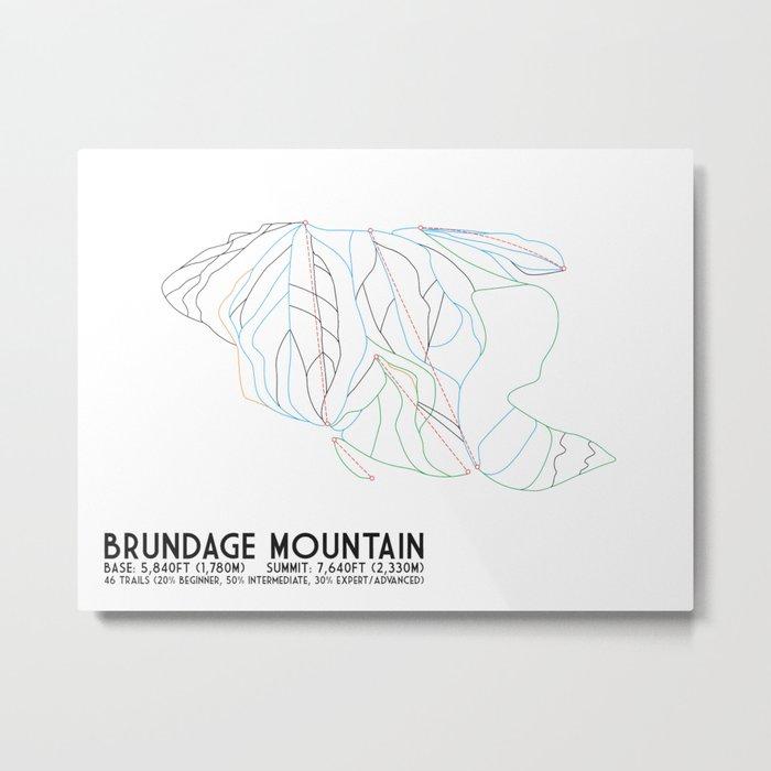 Brundage Mountain, ID - Minimalist Trial Art Metal Print
