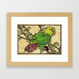 Parrot Linocut Framed Art Print