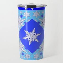 DECORATIVE BABY BLUE SNOW CRYSTALS BLUE WINTER ART Travel Mug