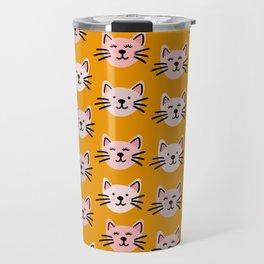 Cat pattern in mustard background Travel Mug