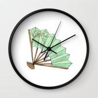 terry fan Wall Clocks featuring Fan by Rene Robinson