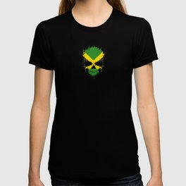 Flag of Jamaica on a Chaotic Splatter Skull T-shirt