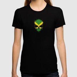 Flag of Jamaica on a Chaotic Splatter Skull T-shirt