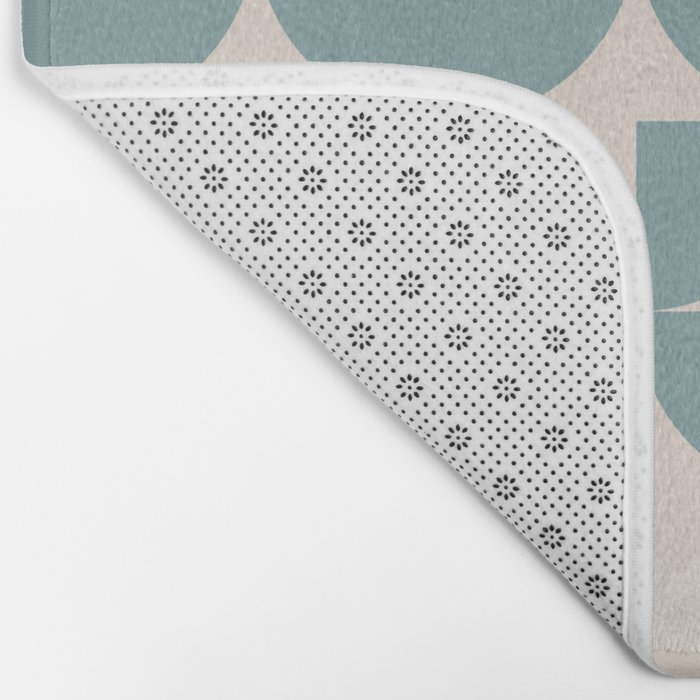 Mid Century Inspired Geometric Shapes in Soft Grey Blue Bath Mat