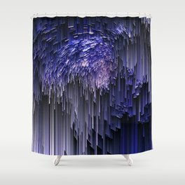 glitchy rain Shower Curtain
