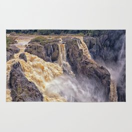 Powerful water going over the falls Rug