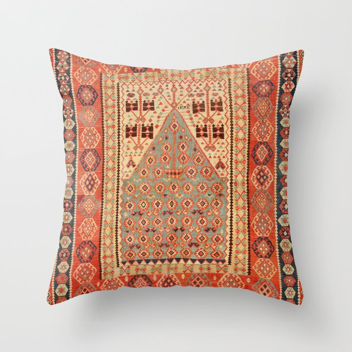 Antique Erzurum Turkish Kilim Rug Print Throw Pillow