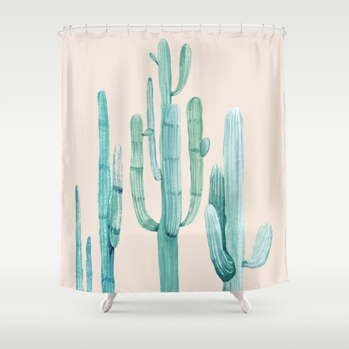 Three Amigos Turquoise Coral Shower Curtain