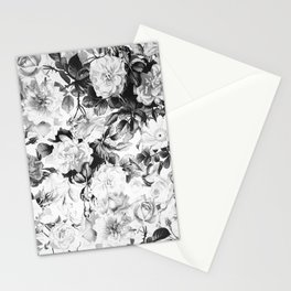 Black gray modern watercolor roses floral pattern Stationery Cards